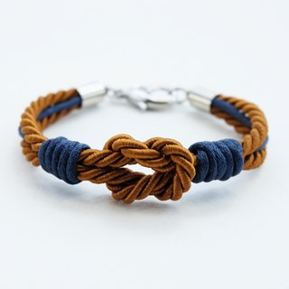 Brown tie the knot bracelet with navy blue waxed cotton cord