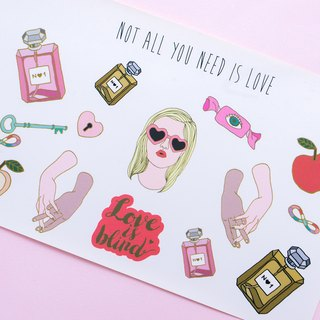 What love is, eat? No Paper Clip / Glossy stickers / illustration / valentine