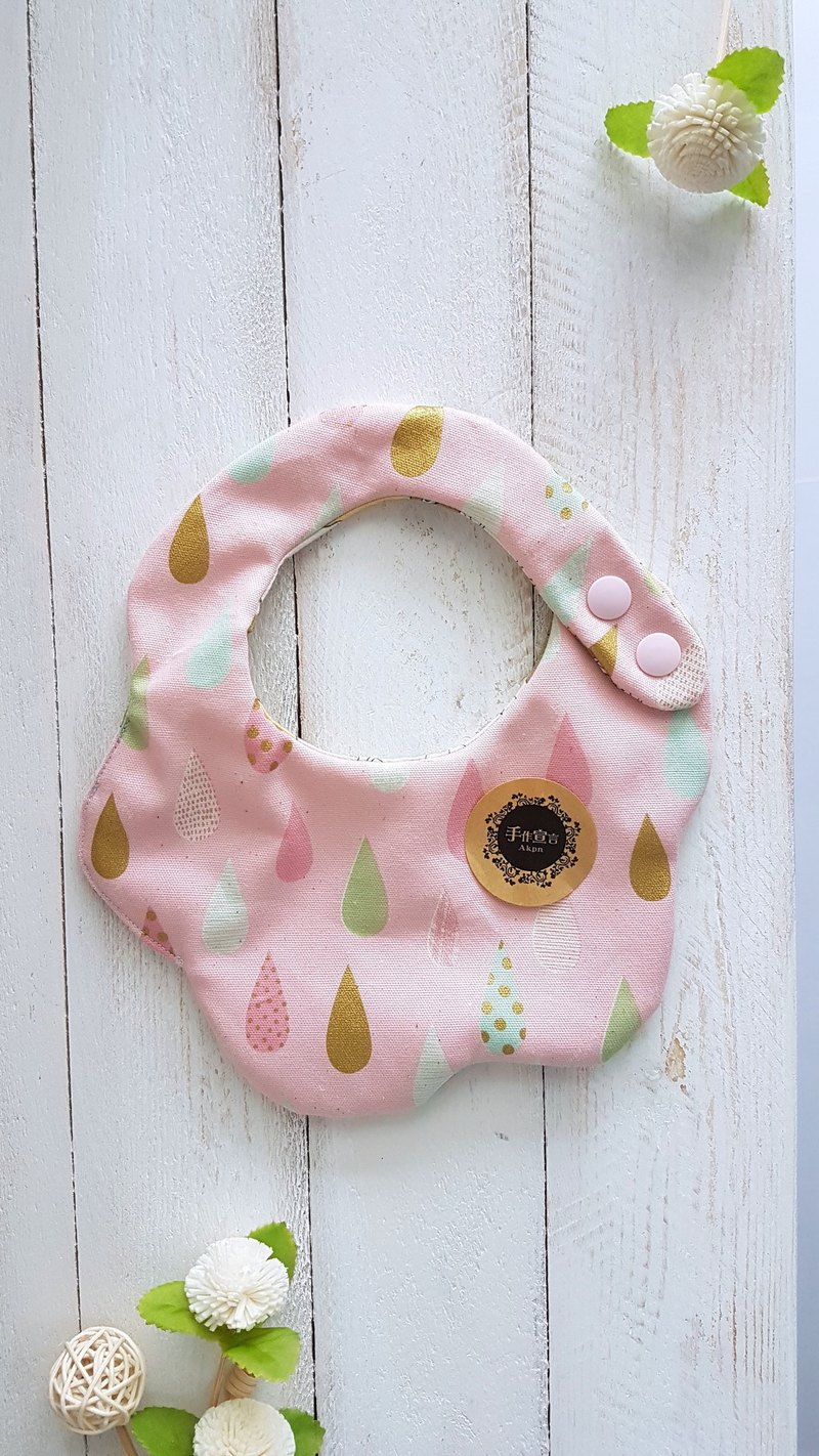 Sui Xing arc shape bib. Saliva towel. 100% cotton - pink water droplets cotton linen + cat cotton cloth