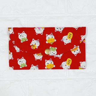 Play cloth hand made. Cute Lucky Cat (Red) Red Bag Passbook Passport Storage Bag