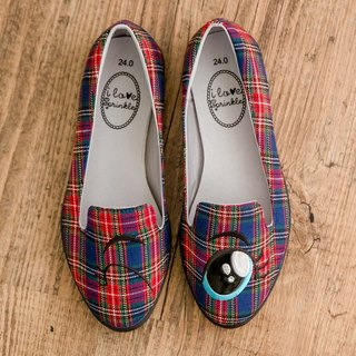 Jewel Blue Plaid Eyes Loafers (Adult)