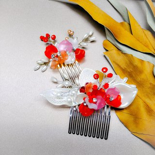 Bring a happy dress like a spring - Bridal comb. French comb. Wedding buffet - combination of red