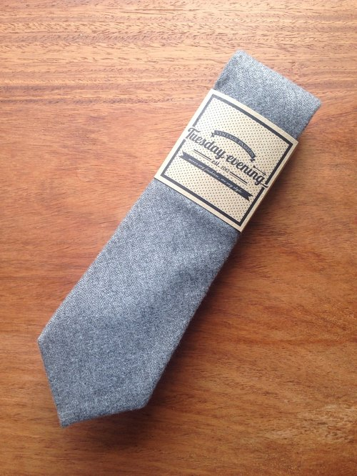 Neck Tie Grey Wool