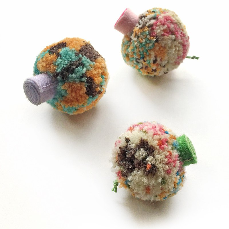 Cauliflower Keyring - Mushroom Special / Wool Color (2 large and 1 small)