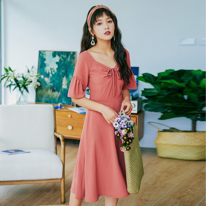 Anne Chen 2018 summer new style art women's dress Y-neck waist dress dress