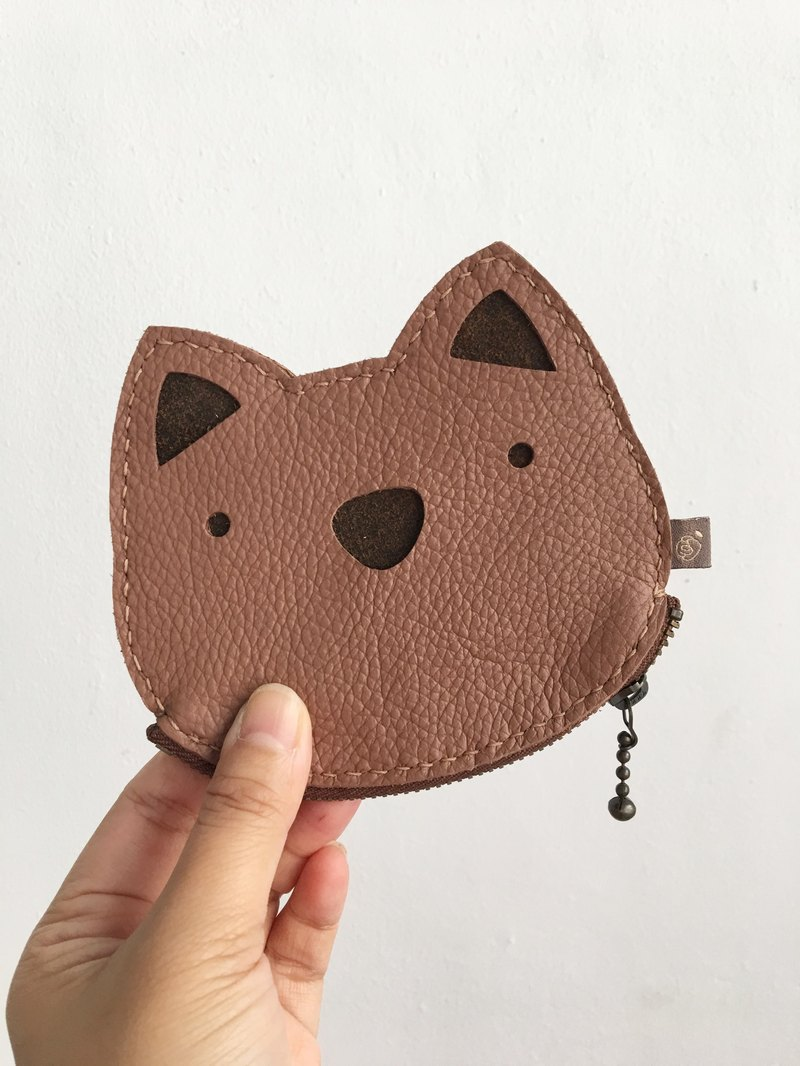 Cat/Zipper Pouch/ID Card Holder/Brown