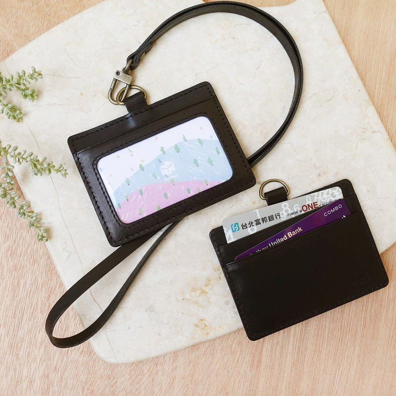 Genuine leather - leather black, leisure identification card holder (with leather lanyard)