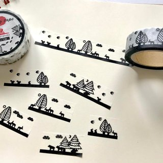 Animal monochrome line A masking tape