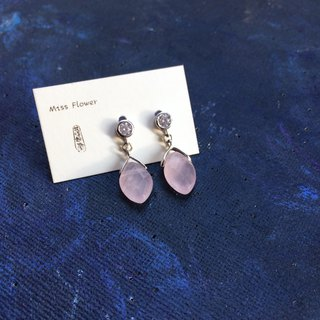 925 silver-rose quartz pierced earrings
