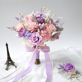 Happy wedding pink purple flower bouquet