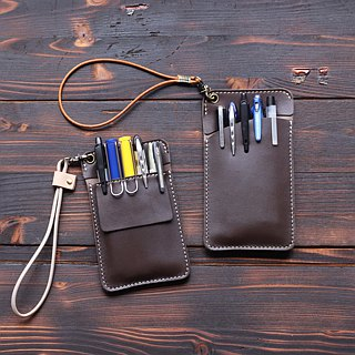 Leather doctor robe pencil bag │ pocket pencil case │ brown