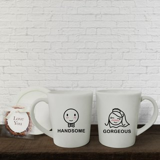 BRIDE AND GROOM Couple Coffee Mugs (FREE HAND CREAM)