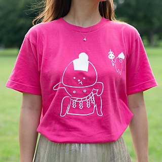 Rice ball T-shirt Dokoko ver. White _ ink (fluorescent pink)