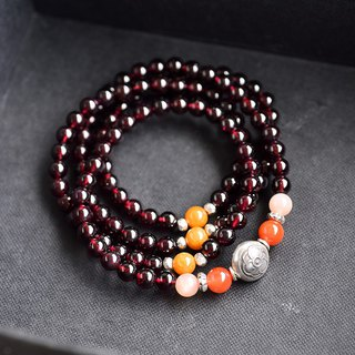 Red Garnet + Orange Moonstone + South Red Agate + Sterling Silver Multi-ring Bracelet / 108 Rosary Necklace