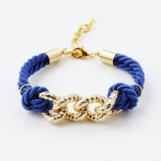 Gold chain & deep blue cord bracelet