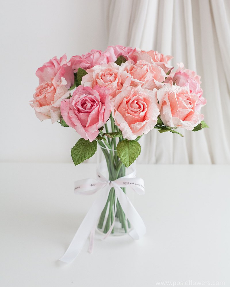 PINK LADY LARGE ROSES with Marseille vase for Decoration
