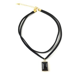 Double black square crystal necklace