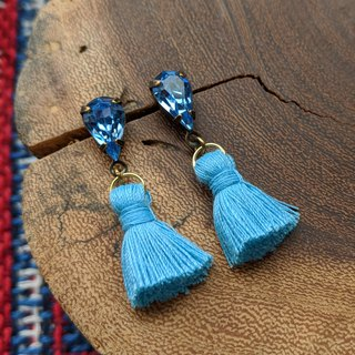 Blue Vintage Glass Tassel Pierced Earrings