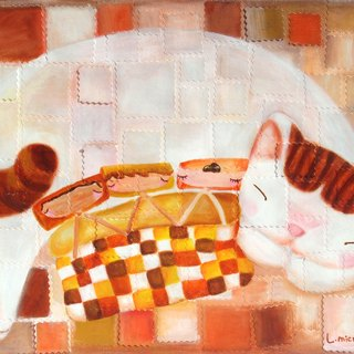 [] Cattitude Cat oil paintings Order - Warm Family Series -F9