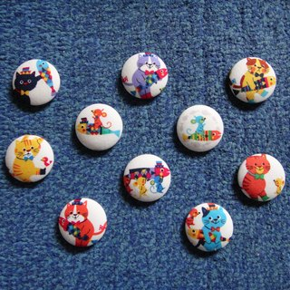 (C) big cat face love fish _ large cloth buttons badge C58DVX23