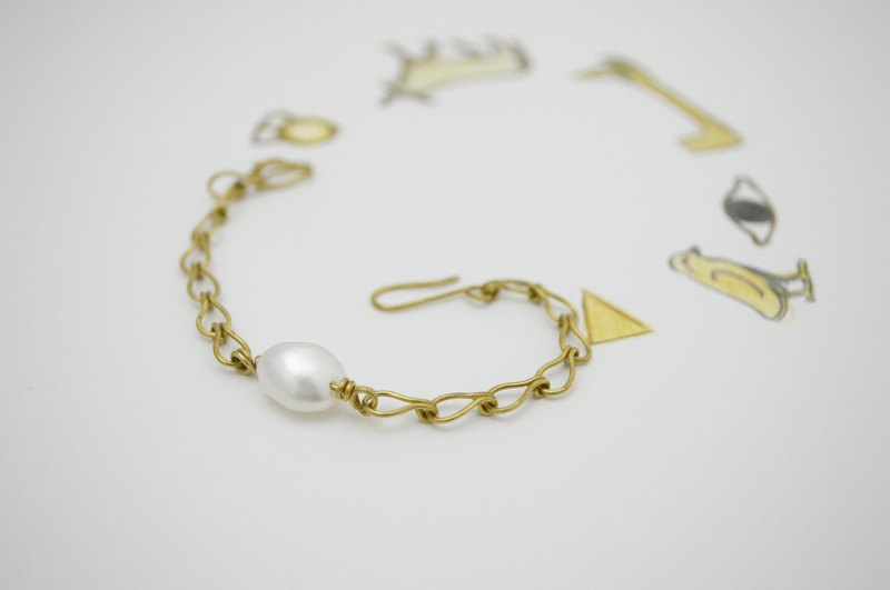 Untitled-Pearl‧Brass Chain and link bracelets‧no.1