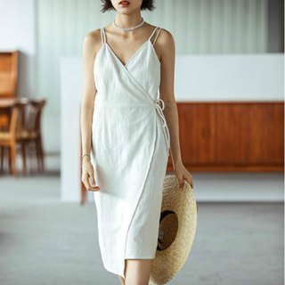 Desert Flower White French V-neck strap harness dress texture linen cotton knee-length dress