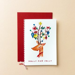 Holly and Jolly Deer Christmas Card