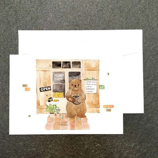 Animal mall の Honey Bear Watercolor Postcards
