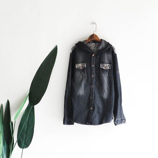 Osaka classic black hooded brush color youth log antique cotton denim shirt jacket coat shirt
