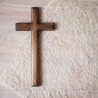 Solid wood imitation old cross white. Deep wood
