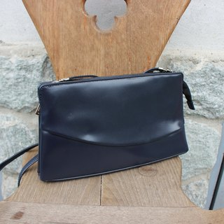 B112 [Vintage Leather] (made in Italy label) LORELLA PAGANO dark blue messenger bag (Made in Italy)