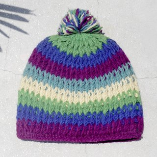 Christmas gift exchange gifts Christmas Express Limited a hand-woven wool hat / knitted wool cap / inner bristles Hand-woven wool cap / wool cap (made in nepal) - contrast color South American striped tropical forest
