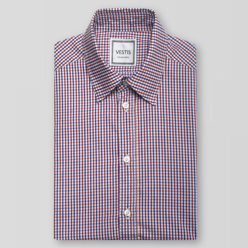紅藍格紋男性商務休閒襯衫 - 合身版/歐洲進口100%純棉面料
