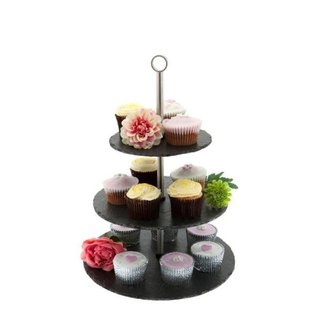 British Selbrae House natural black slate three-layer afternoon tea cake dessert stand / decoration stand - spot