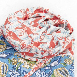 Hand-woven pure silk scarves handmade woodcut printing plant dyeing scarves grass wood dyed cotton scarves - flower vine forest