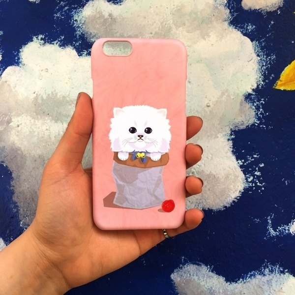 Korean top paint hand made texture shell (powder naughty wool cat 喵 one) iX i8 Note9 8 S9