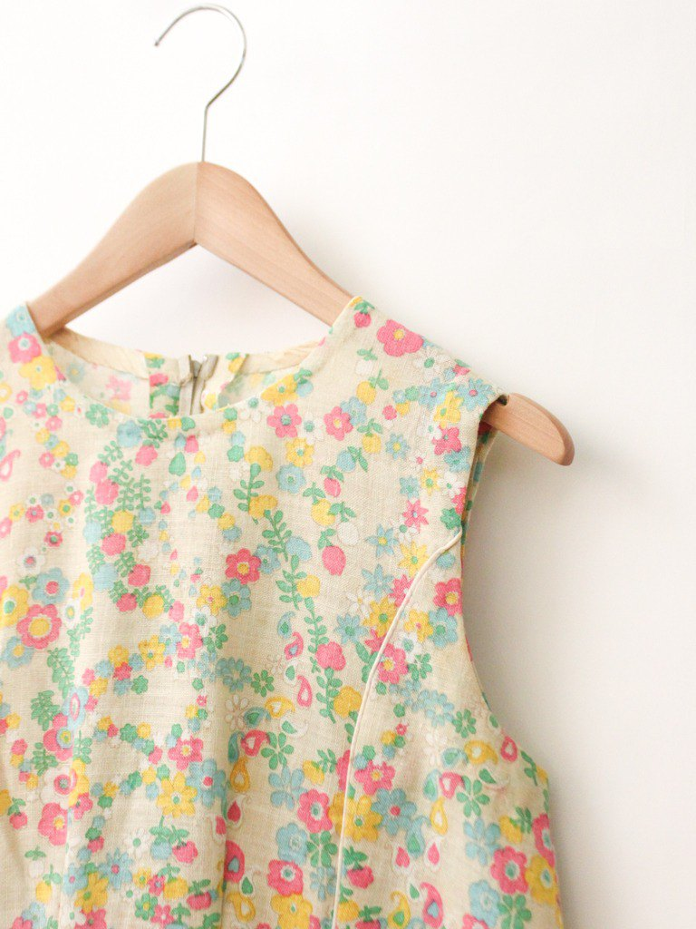 Vintage Cute Sweet Floral Floral Khaki Beige Sleeveless Vintage Dress VintageDres
