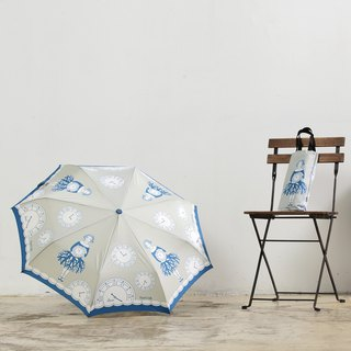【Taiwan's Cultural Rain's talk】 Love the Earth series of anti-UV folding umbrella + green bag (cherish the time)