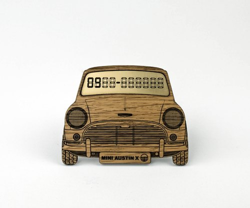 [Exclusive] Austin Mini white oak wood temporary parking card number