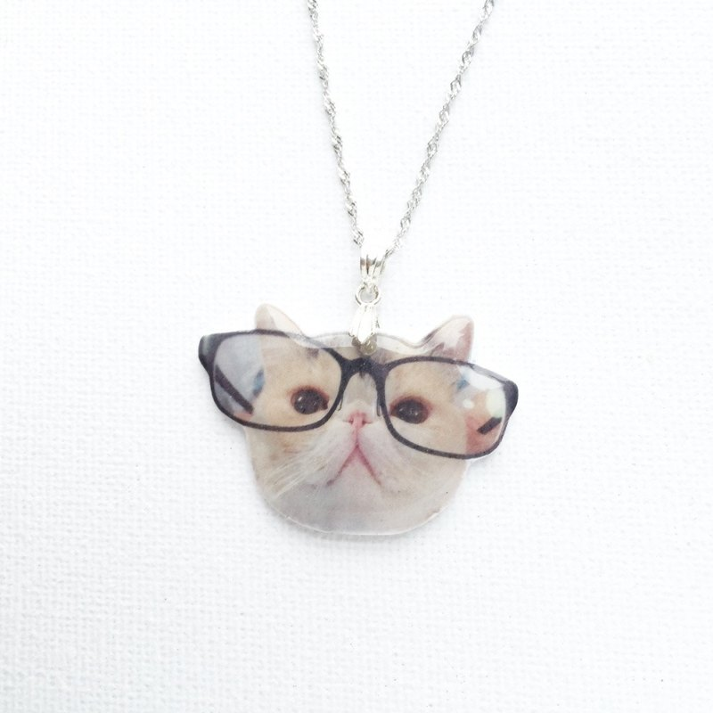 Cat in Glasses Jojo Shrink Plastic 925 Silver Handmade Necklace