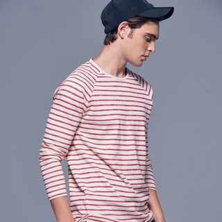 Stone'As Basic Striped long-sleeved Tee In Red / 紅色 連袖 長 T-shirt
