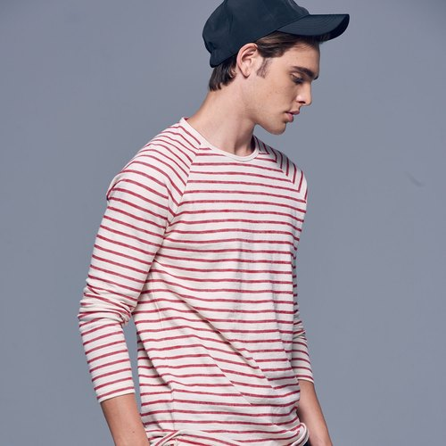 Stone'As Basic Striped long-sleeved Tee In Red / Red Sleeves T-shirt