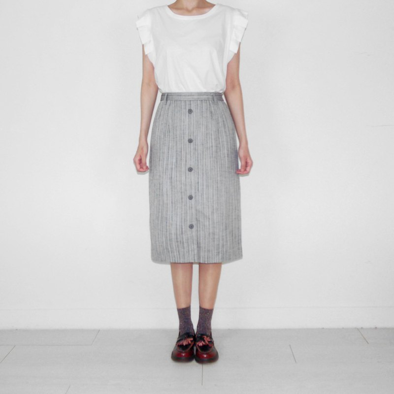 Gray straight stripes vintage high waist and knee skirt BK2016