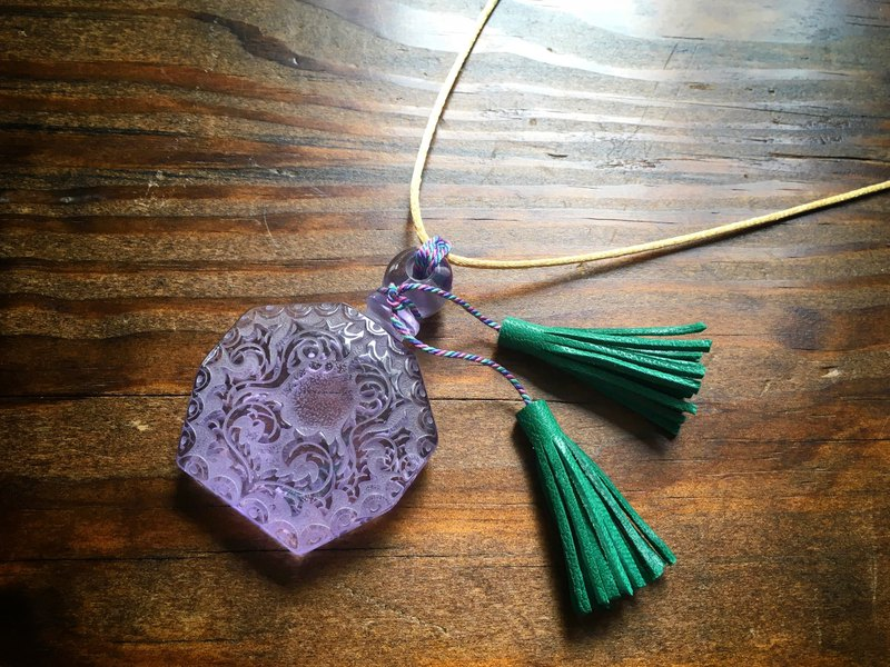Vintage glass and French goat leather tassel pendant lavender