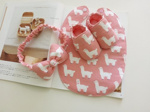 Foundation alpaca Miyue Gift baby shoes + bib + hair band