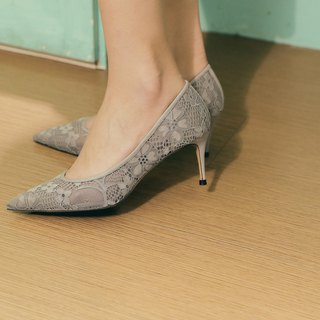 Cloth flower lace simple hollow with shoes gray