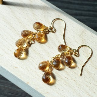 [Maya Tara] 14KGF natural citrine chandelier gemstone earrings