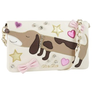 Lovely Dog Appliqué Leather Sling Bag