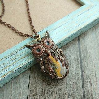 Misssheep- PM03 -  Handcrafted Polymer clay Owl pendant with bumble bee jasper