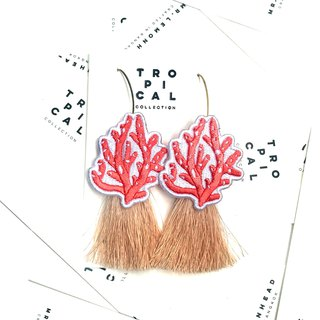 Coral patch cream color Tassel Earrings